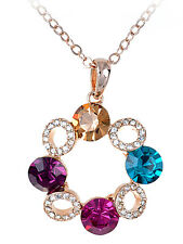 Lovely Crystal Elements Petite Four Stone Holiday Wreath Pendant Necklace