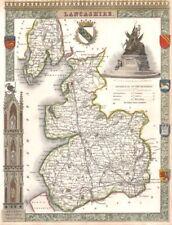 Lancashire antique hand-coloured county map. Railways. MOULE c1840 old
