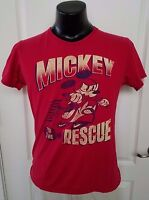 Disney MICKEY MOUSE Mens Red T-Shirt MEDIUM Mickey to the Rescue Scooter Retro