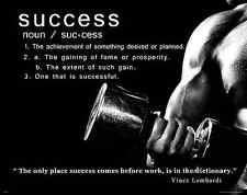 Workout Motivational Success Poster Art Print Weights Weight Lifting Gym MVP525