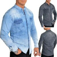 Herren Klassisch Western Schwer Denim Jeans Hemd Qualität Nieten Perlen Knöpfe
