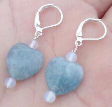 Heart-Shaped Gemstone Dangle Earring New Handmade Natural Blue Aquamarine