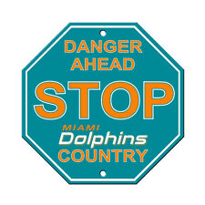 NFL Miami Dolphins Stop Sign Room Bar Decor 12 x 12
