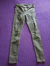 Quality River Island super skinny leg black denim jeans size 8 ripped & frayed
