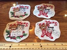 Christmas puppy Kitten fabric Iron On Appliques dog cat candy cane