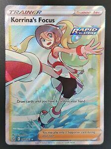 Pokemon Card Rapid Strike Korrina's Focus 160/163 Ultra Rare Battle Styles SWSH