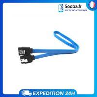 Câble Sata  6Gb/s III 45cm Verrouillable Bleu Pour Disque Dur et SSD