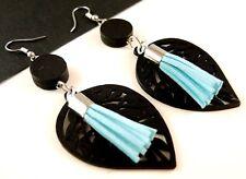 Black Lightweight Leaf Wood Earrings with Sky Blue Faux Suede Tassels # 1587