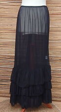 LAGENLOOK MAXI PETTICOAT UNDERSKIRT/DRESS*BLACK*MADE IN ITALY WAIST UP TO 54""