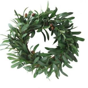 Hot Artificial Garland Peace Olive Leaf Wreath Ornaments Olive Branch Door Ring