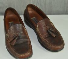 Johnston & Murphy Men's 10.5 Tassel Pebbled Leather Loafers Brown