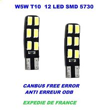 AMPOULES LED T10 W5W RENAULT MODUS 12 LED SMD 5730 CANBUS