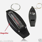 4 in 1 Camping Travel Magnifier Versatile Compass Thermometer Whistle Keychain