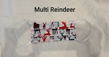 Handmade christmas multi reindeer adult face mask with filter pocket nose wire