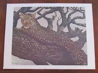 "Vintage John Le Roi Sheffer Leopard In Tree Signed Wall Art Print 1974 24"" x 18"""