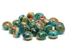 Czech Glass Beads 6x8mm Teal & Beige Picasso Fire Polished Rondelles (25) #5992