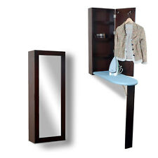 Ironing Board Cabinet Fold Wall Mounted Dressing Mirror Room Space Saver Wood