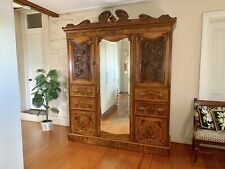 Superb Antique French Louis Armoire-Wardrobe-Drawers-Mirror~Press~MAPLE&Co