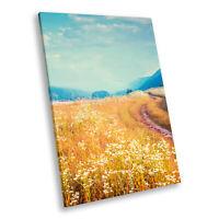 Portrait Scenic Photo Canvas Picture Print Wall Art Blue Yellow Field Nature