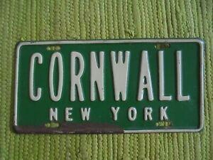 Vintage CORNWALL New York License Plate Embossed Vanity Topper Souvenir Tag NY