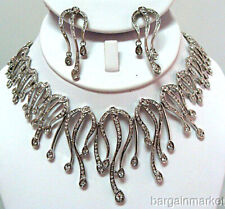Bridal Statement Silver Crystal Necklace Earrings Set