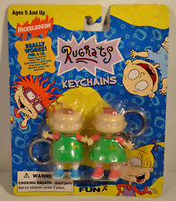 "1997 Phil & Lil Magnetic Keychains 2.5"" PVC Figure Rugrats Nickelodeon Basic Fun"