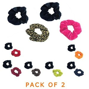 Pleated Hair scrunchies Pack of 2 Satin style ladies Bobbles hairband Scrunchy