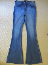 WOMENS EXPRESS BELL FLARE HIGH RISE DENIM BLUE BUTTON UP JEANS STRETCH SIZE 0