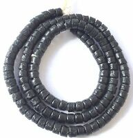 Opaque Black Handmade Ghana recycled glass disk African Trade Beads