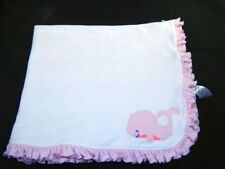 Carters White Pink Whale Baby Security Blanket Pink Ruffles