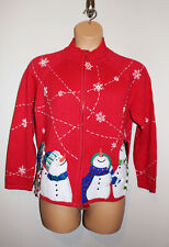 Womens HEIRLOOM COLLECTIBLES Snowmen Full Zip Not Ugly Christmas Sweater L Large