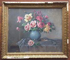 Lovely Classic Antique Painting of Roses Signed Jul. Hennemann Manner Dyf