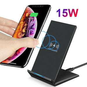 15W Qi Wireless Fast Charger Charging Stand Dock For Galaxy S10+ iPhone XS 11Pro