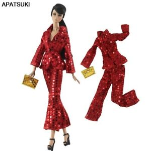 """Sequin Red Clothes Set for 11.5"""" 1/6 Dolls Outfits Suit Jacket Pants Purse Toys"""