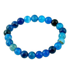 8MM Natural Blue Agate Beads Stone Elastic Stretch Bracelet Bangle Jewelry Gift
