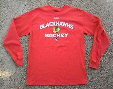 Chicago Blackhawks Hockey Reebok NHL Hockey Shirt ~ Medium M ~ Red LS RBK