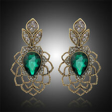 GORGEOUS ANTIQUE GOLD PLATED EMERALD CRYSTAL LONG DANGLE STATEMENT EARRINGS
