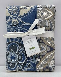 NEW Pottery Barn Mackenna Patchwork KING Cotton Quilted Sham~Midnight Blue Multi
