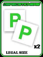 GREEN P PLATE STICKER NON MAGNETIC LEGAL SIZE LICENCE REGO x2 CAR BIKE STICK ON