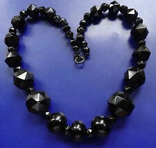 antique Victorian WHITBY JET round & facet carved chunky bead necklace -D9