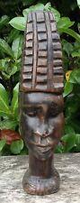 Stunning Large Vintage Wooden Ebony? African Tribal Female Head Carving AF