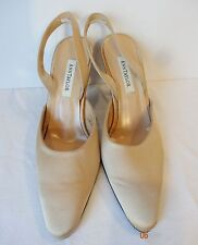 ANN TAYLOR 7M GOLD SATIN SLINGBACK formal HEELS made in Italy champagne