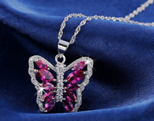 5ct Marquise Cut Pink Ruby Pendant Butterfly Design 14k White Gold Over NO CHAIN