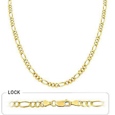 14K Yellow Gold 4.3 MM Figaro Chain Concave Link Necklace , 20 Inches Men Women