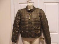 Berry Plaid Hooded Wool Blend Coat Satin Lining Jacket Sm XL