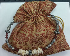 DAMASK FABRIC BAG W/ NECKLACE STRAP GOLD & WINE BOHEMIAN PIRATE NEW