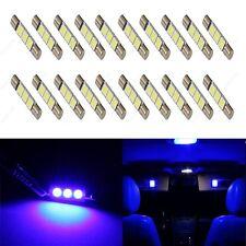20 x Blue 28mm 3SMD T6 6641 LED Bulbs Sun Visor Vanity Mirror Fuse Lights + TOOL
