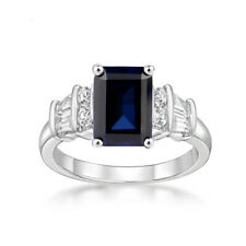 Australian Blue Sapphire Emerald cut solitaire Silver Ring White gold over