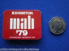 MAB - International Menswear Fair 1979   ' Exhibitor  '  pin badge