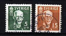 SWEDEN 1938 King Gustaf V Set Perf. 12½ SG 208a & SG 209a VFU